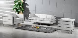 Le Corbusier Style Grande Sofa Loveseat  Chair Set In White - Corbusier sofas