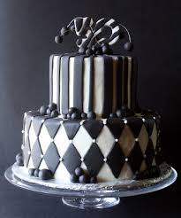 black u0026 white 50th birthday cake
