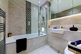 family bathroom with porcelain tiles vertical mosaic strip