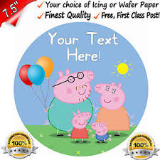 peppa pig birthday peppa pig birthday cake topper edible 7 5 icing or wafer paper