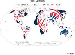 map of nba teams this is a map of which mlb team is the most hated in each country