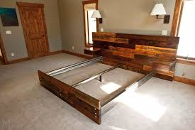 Diy King Platform Bed Frame by Reclaimed Platform Bed With Floating End Tables Ideas Diy Diy