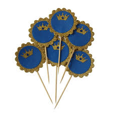 prince baby shower prince crown cupcake toppers glitter gold royal blue rhinestone