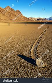 moving stone desert death valley national stock photo 45405613