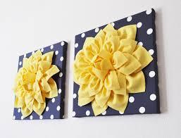 Home Decor Yellow by Navy Wall Decor Yellow Dahlia On Navy And White Polka Dot 12