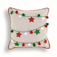 christmas linen pillow cover ornaments garland indian brocade