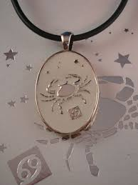 pendant engraving cancer symbol zodiac sign necklace reversible metal pendant w