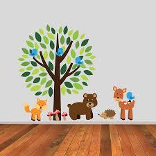 tree with wonderful woodland animals wall sticker by mirrorin tree with wonderful woodland animals wall sticker