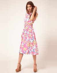 asos midi summer dress with floral cut out waist in purple lyst