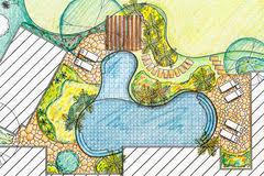 Backyard Plan Backyard Garden Plan With Stone Patio Stock Photo Image 49037639