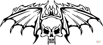 skull wings flames coloring free printable coloring
