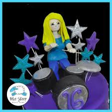 Sweet 16 Drummer Birthday Cake Blue Sheep Bake Shop
