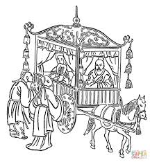 confucius in a horse drawn coach coloring page free printable
