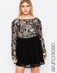 plus size dress with sequin top by club l black gold