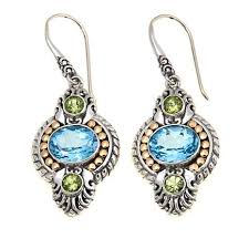 peridot earrings bali designs by robert manse 6 88ctw sky blue topaz and peridot