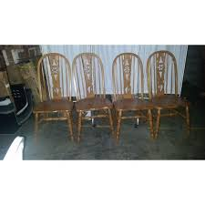 oak dining room chairs wagon wheel set 4 chairish