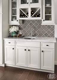 gray backsplash kitchen grey arabesque shape mosaic tile backsplash against white cabinets