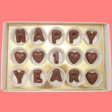 1 year anniversary gifts for boyfriend happy 1 year large milk chocolate letters by what candy says on zibbet