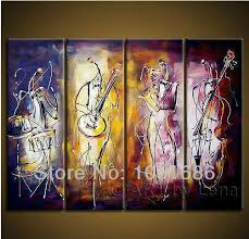 themed artwork modern abstract 3 wall set painted violin musical