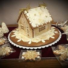 gingerbread house in gold snowflakes and lace by teri pringle