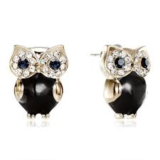 owl stud earrings owl stud earrings rhinestone owl earrings gold