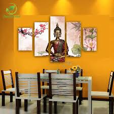 Buddhist Home Decor 5 Panel Abstract Printed Buddha Painting Canvas Wall Art Home
