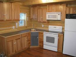 cute image of l shape rustic cabin kitchens decoration using solid