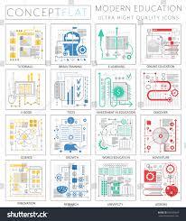 Conceptmodern Infographics Mini Concept Modern Education Icons Stock Vector