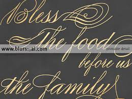 printable bless the food before us sign for dining room in gold