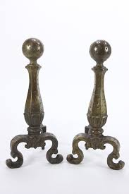 pair distressed style andirons fire dogs fireplace log holder