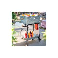 Patio Ice Bucket With Stand by Beverage Cooler Tub Metal Stand Galvanized Steel Bucket Wood