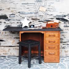 petit bureau noir petit bureau de comptable vintage chêne ciré et plateau noir