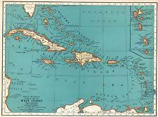 carribbean map caribbean map ebay