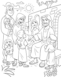 jesus and children coloring page free download
