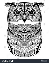 decorative ornamental owl doodle style stock vector 401321854