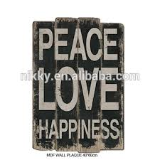 peace happiness black background white letters vintage wood