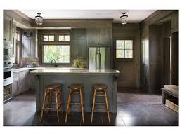 Dark Wood Kitchen Island by Black Pendant Light Dark Wood Barstools Range Hood Green Kitchen