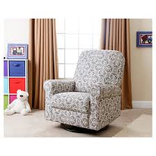 Lift Chairs Perth Perth Fabric Swivel Glider Recliner Chair Gray Floral Abbyson