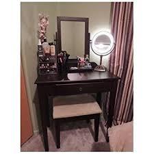 amazon com vanity table set mirror stool bedroom furniture