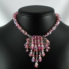 swarovski beaded necklace images Rhines of old beaded necklace handmade swarovski light rose ab jpg