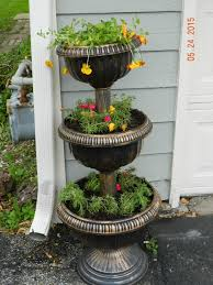 Cool Planters Delightful 3 Tier Flower Planters Design With Wrought Iron Frames