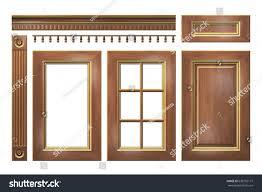 cornice wooden gold door drawer column cornice stock illustration