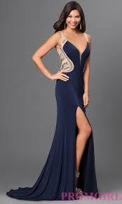 long blue sheer back v neck prom dress promgirl