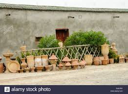 terracotta pots and tagines for sale in marrakech morocco stock