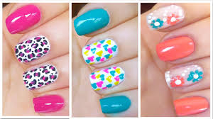 3 cute nail art designs for spring summer 2 youtube