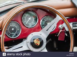 porsche dashboard steering wheel and dashboard in a vintage porsche automobile stock