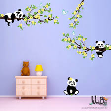 stickers panda chambre bébé pandas and cherry blossom branches with butterflies panda decal