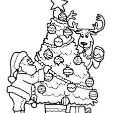 santa claus deer decorating christmas trees coloring pages