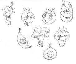 drawn vegetable cartoon pencil and in color drawn vegetable cartoon
