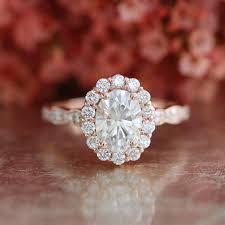 scalloped engagement ring halo moissanite engagement ring in 14k gold scalloped